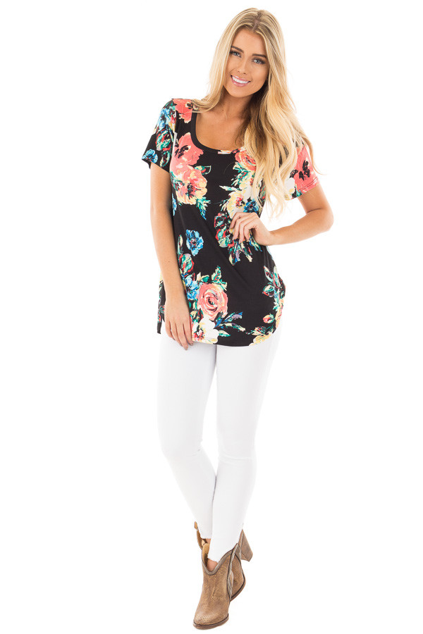 Black Tee with Coral and Blue Watercolor Floral Print front full body