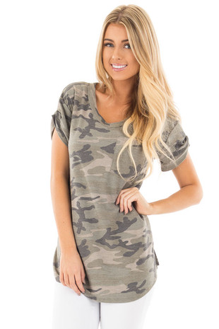 Olive Camouflage V Neck Tee with Breast Pocket front close up
