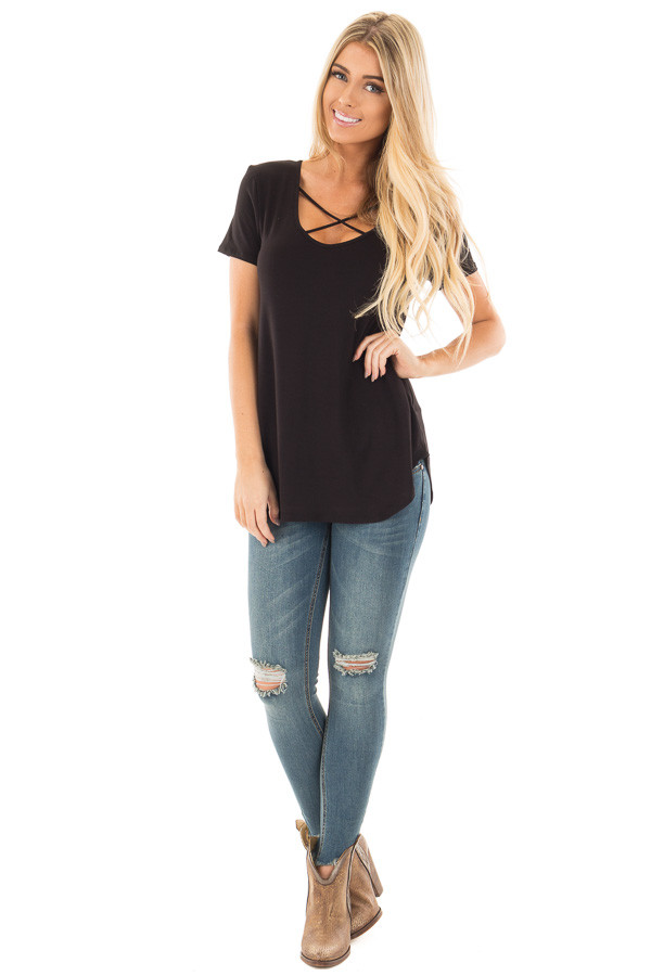 Black Short Sleeve Criss Cross Neckline Tee front full body