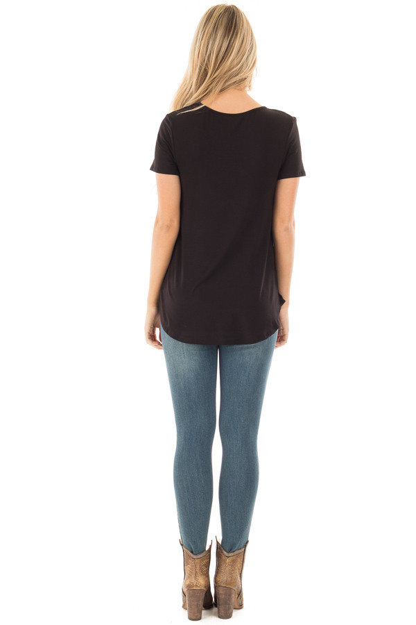 Black Short Sleeve Criss Cross Neckline Tee back full body