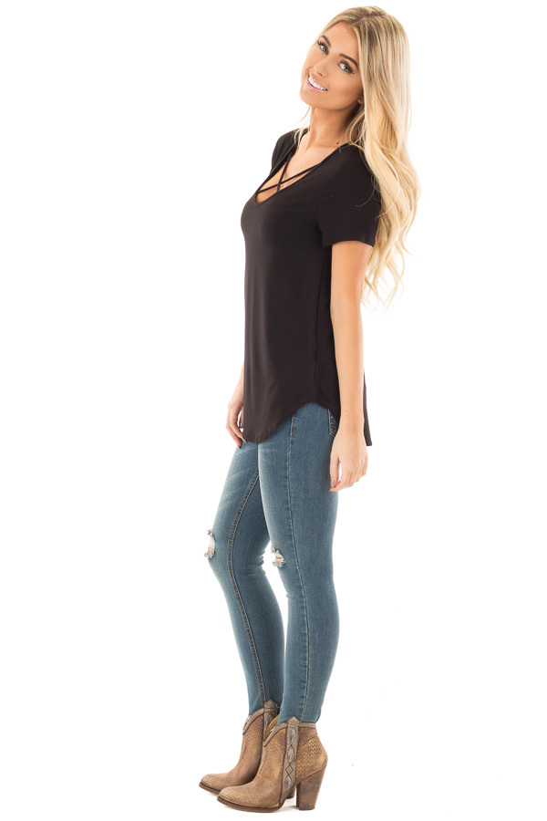 Black Short Sleeve Criss Cross Neckline Tee side full body