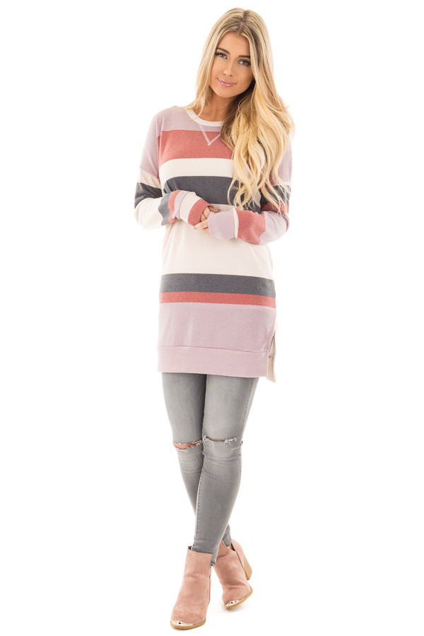Rose Blush and Grey Striped Tunic Sweater - Lime Lush Boutique