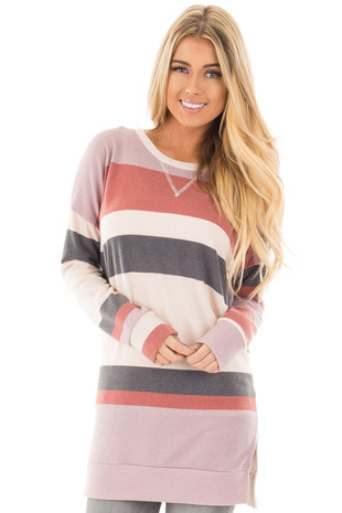 Rose Blush and Grey Striped Tunic Sweater front close up