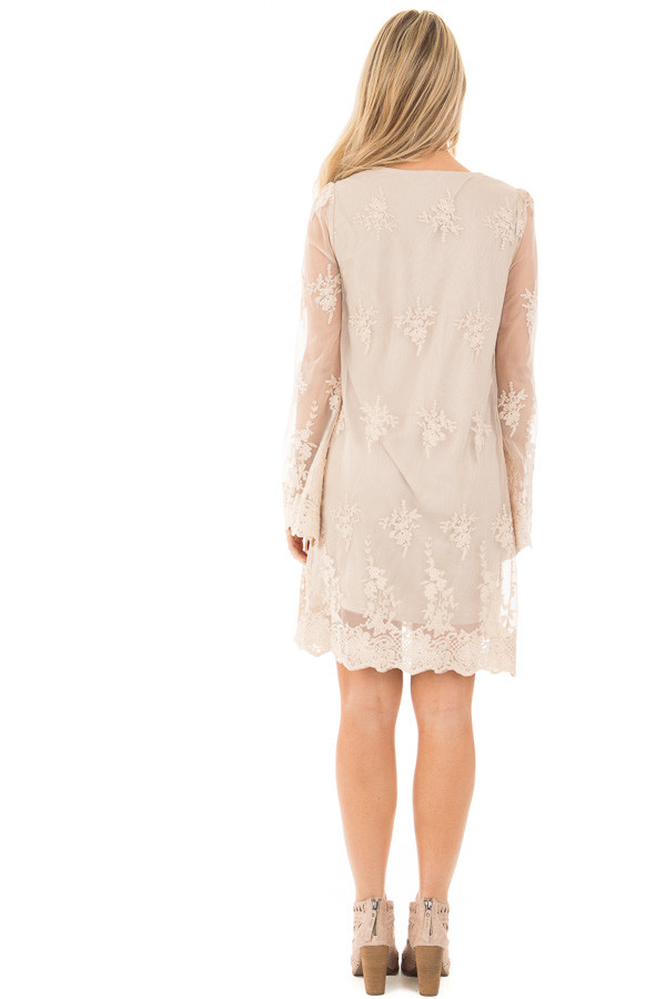 Taupe Long Sleeve Lace Dress With Scalloped Hemline Lime