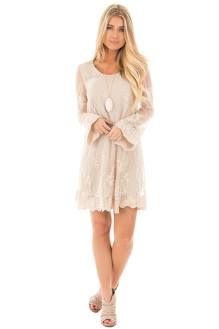 Taupe Long Sleeve Lace Dress with Scalloped Hemline front full body
