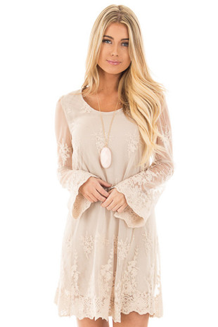 Taupe Long Sleeve Lace Dress with Scalloped Hemline front close up