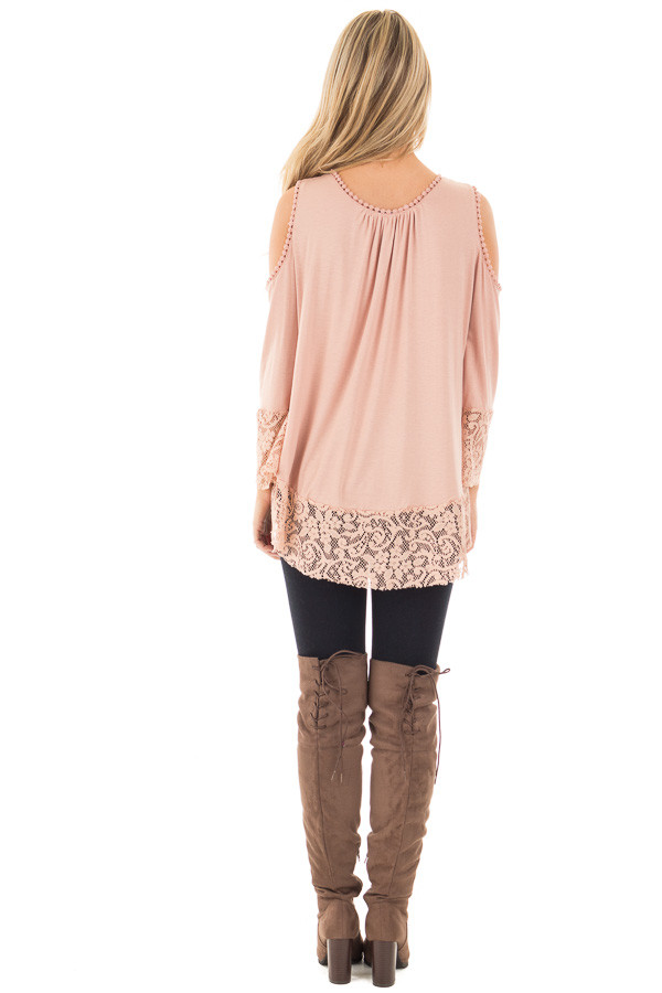 Dusty Rose Cold Shoulder Blouse with Lace Trim and Cuffs back full body