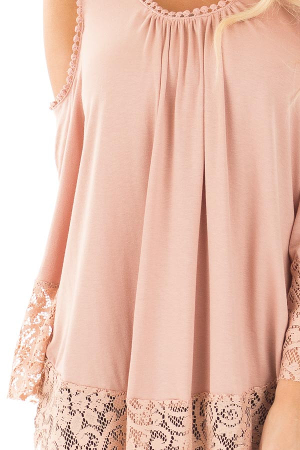 Dusty Rose Cold Shoulder Blouse with Lace Trim and Cuffs detail