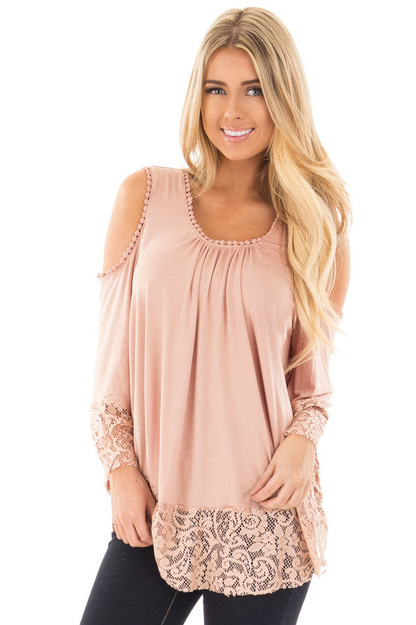 Dusty Rose Cold Shoulder Blouse with Lace Trim and Cuffs front close up