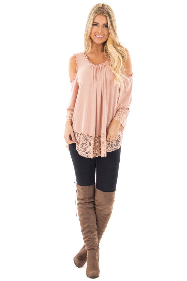 Dusty Rose Cold Shoulder Blouse with Lace Trim and Cuffs front full body