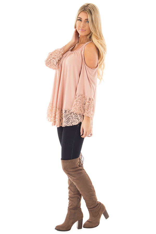 Dusty Rose Cold Shoulder Blouse with Lace Trim and Cuffs side full body