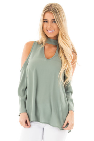Sage Chiffon Cold Shoulder Blouse with Cut Out Neckline front close up