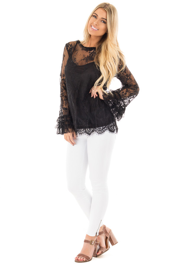 Black Lace Mock Neck Blouse with Keyhole Back front full body