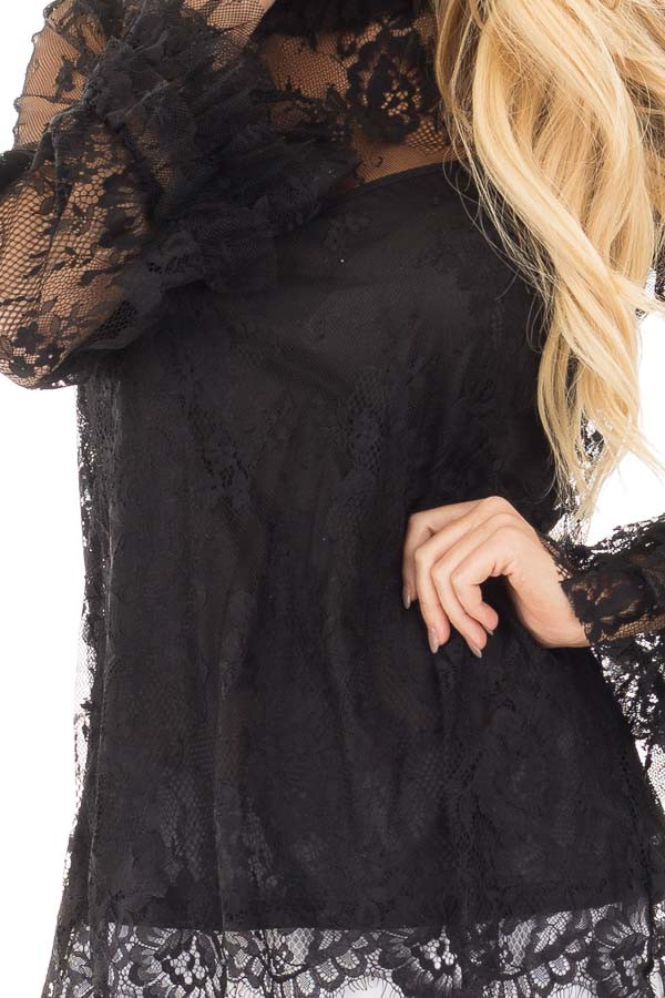 Black Lace Mock Neck Blouse with Keyhole Back detail