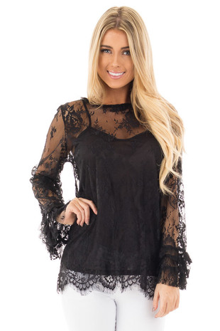 Black Lace Mock Neck Blouse with Keyhole Back front close up