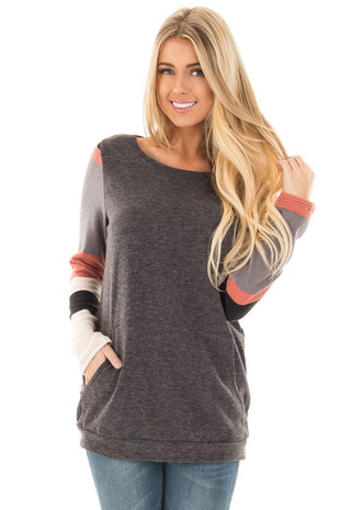 Charcoal Knit Sweater with Striped Sleeves and Front Pocket front close up