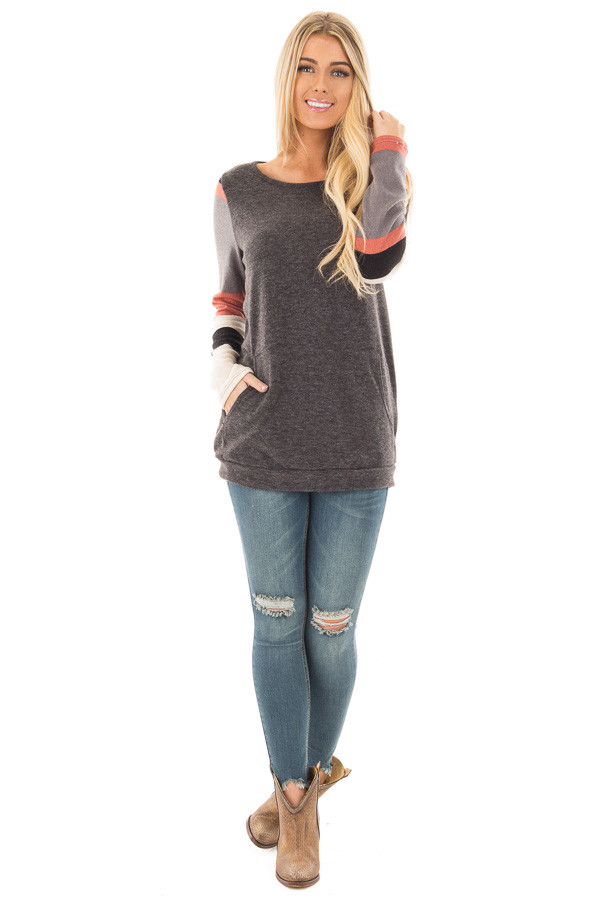 Charcoal Knit Sweater with Striped Sleeves and Front Pocket front full body