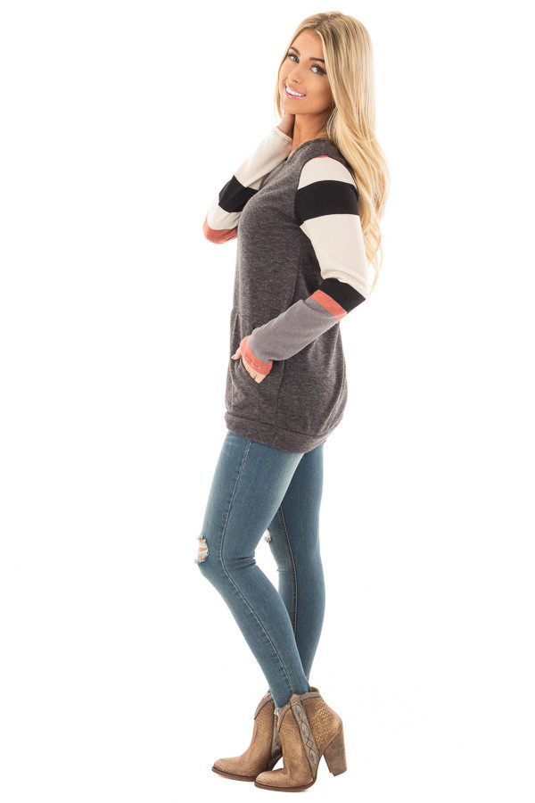 Charcoal Knit Sweater with Striped Sleeves and Front Pocket side full body