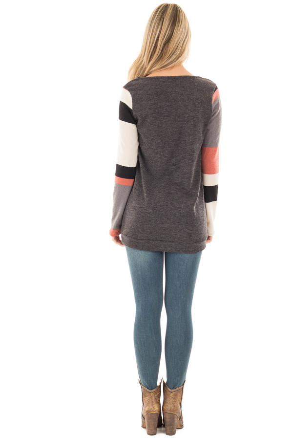 Charcoal Knit Sweater with Striped Sleeves and Front Pocket back full body
