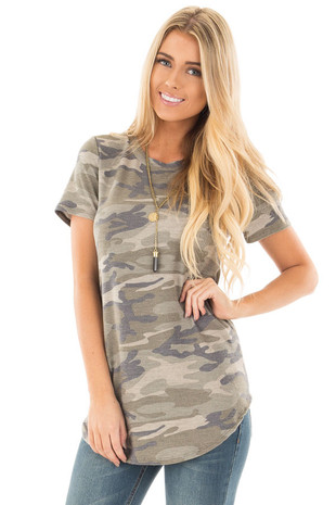 Camo Soft Oversized Tee front close up