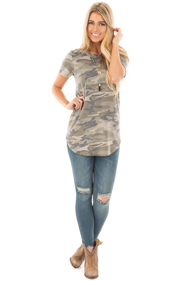 Camo Soft Oversized Tee front full body