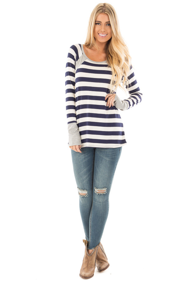 Navy Striped Long Sleeve Tee with Heather Grey Contrast front full body