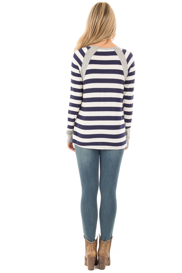 Navy Striped Long Sleeve Tee with Heather Grey Contrast back full body