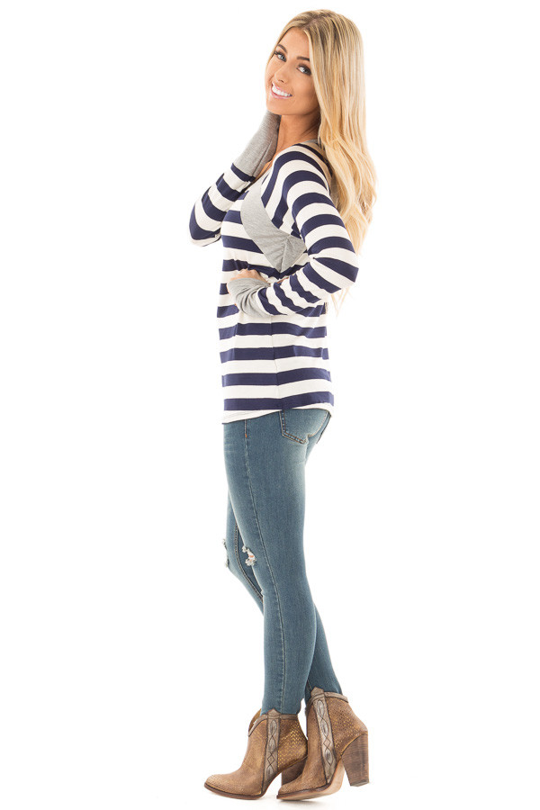Navy Striped Long Sleeve Tee with Heather Grey Contrast side full body
