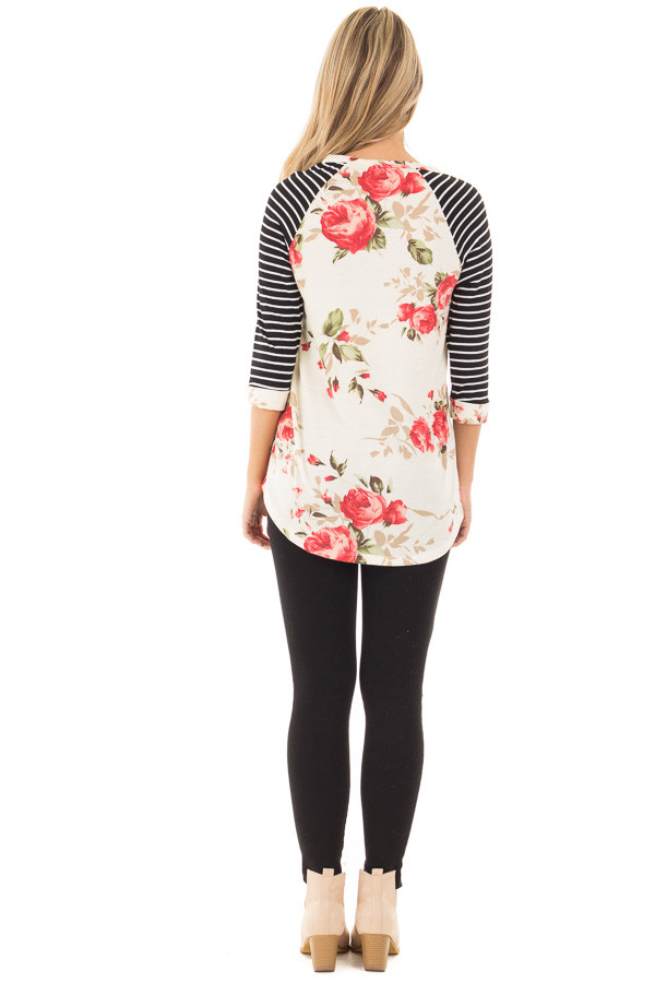Ivory and Floral Baseball Tee with Striped Sleeves back full body
