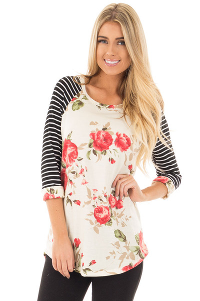 Ivory and Floral Baseball Tee with Striped Sleeves front close up