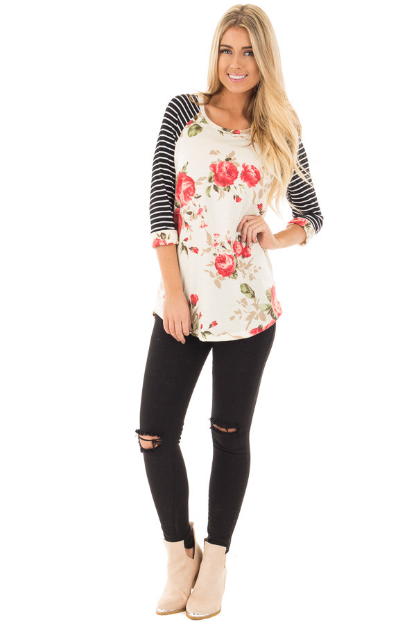 Ivory and Floral Baseball Tee with Striped Sleeves front full body
