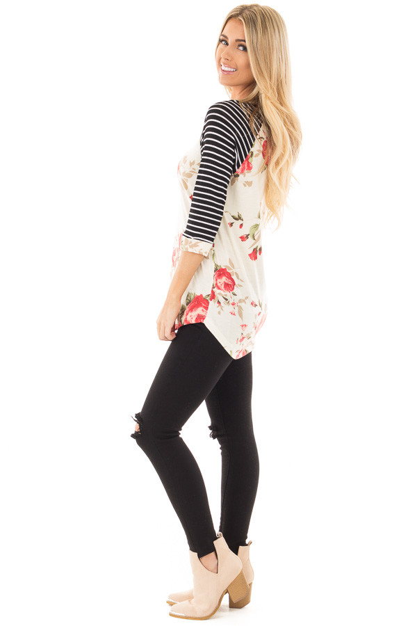 Ivory and Floral Baseball Tee with Striped Sleeves side full body