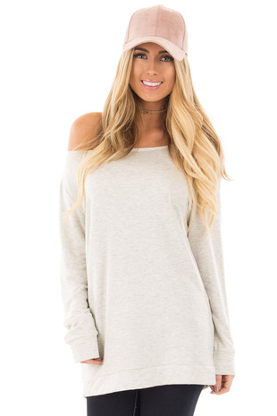 Heather Grey Off Shoulder Soft Knit Sweater front close up