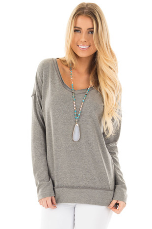 Heather Grey V Neck Long Sleeve Top with Seam Details front close up