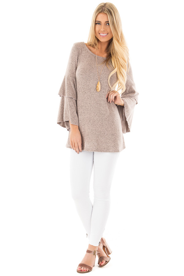 Dusty Pink Two Tone Knit Sweater with Ruffle Sleeves front full body