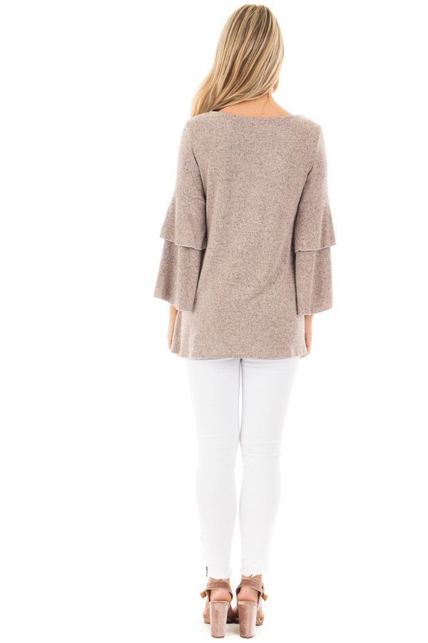 Dusty Pink Two Tone Knit Sweater with Ruffle Sleeves back full body