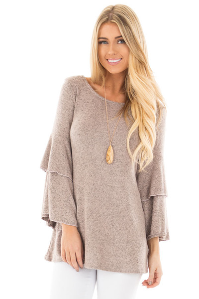 Dusty Pink Two Tone Knit Sweater with Ruffle Sleeves front close up