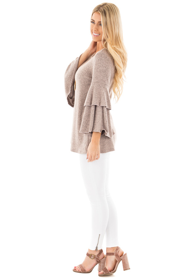 Dusty Pink Two Tone Knit Sweater with Ruffle Sleeves side full body