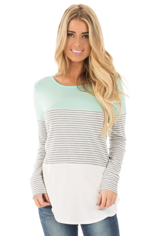 Mint and White Color Block Top with Grey Stripe Contrast front close up