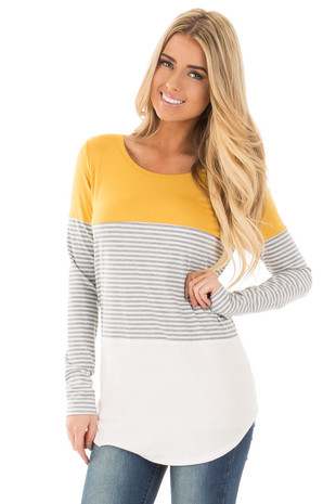 Mustard and White Color Block Top with Grey Stripe Contrast front close up
