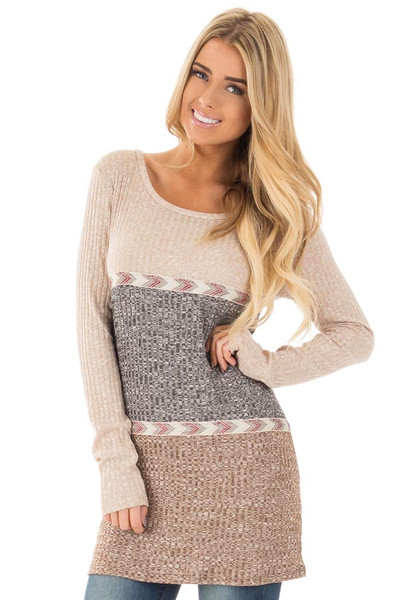 Grey and Mocha Color Block Ribbed Top with Embroidered Trim front close up