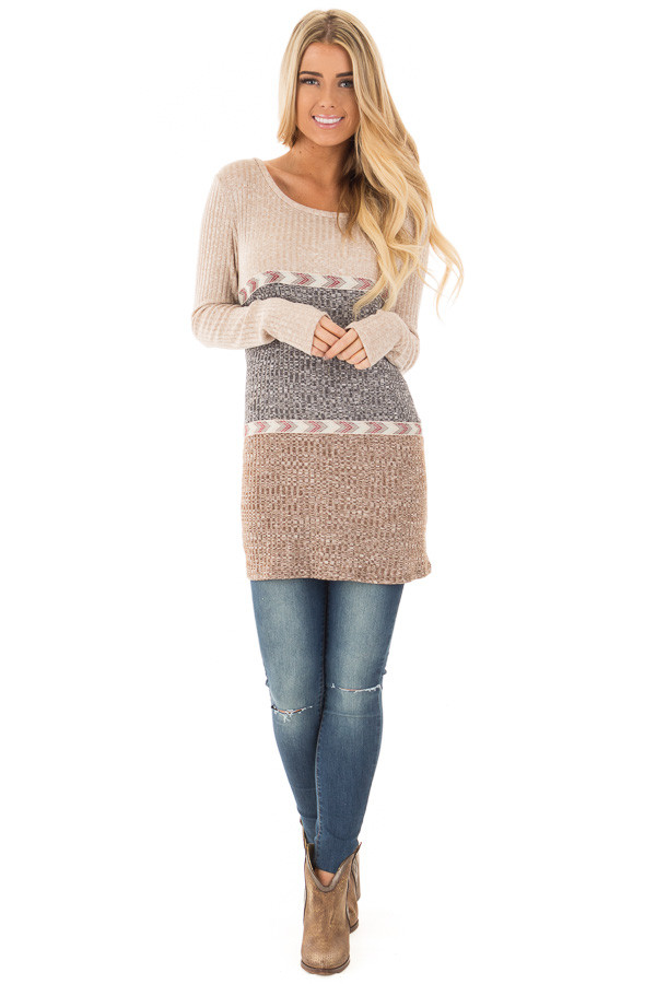Grey and Mocha Color Block Ribbed Top with Embroidered Trim front full body