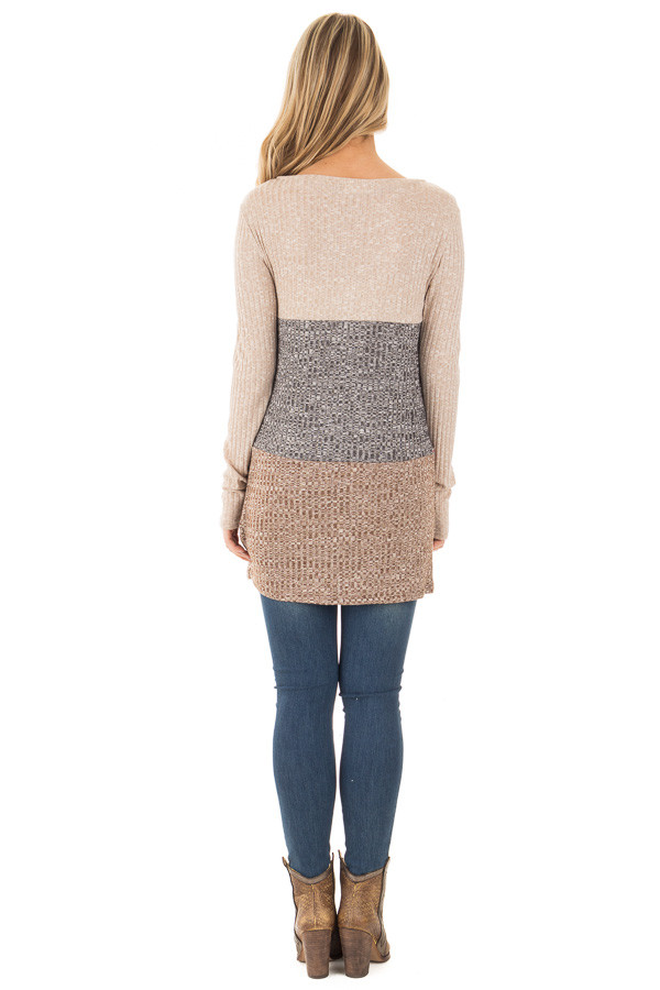 Grey and Mocha Color Block Ribbed Top with Embroidered Trim back full body