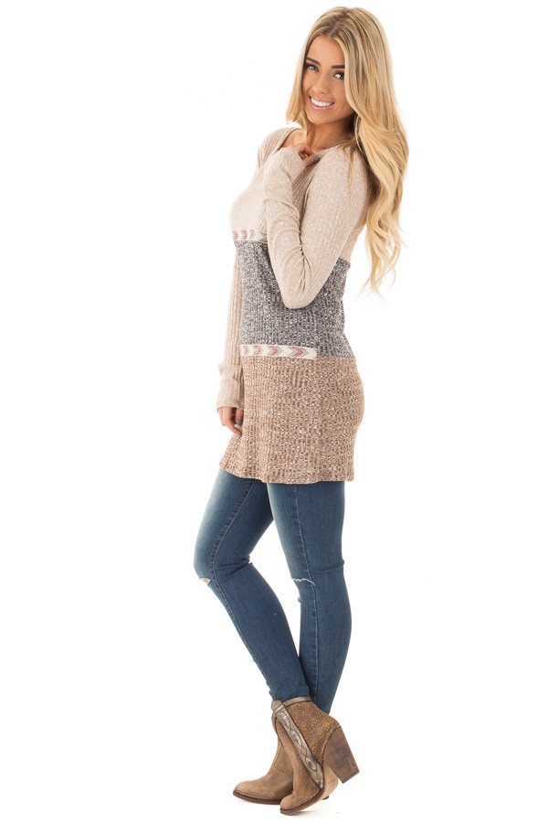 Grey and Mocha Color Block Ribbed Top with Embroidered Trim side full body