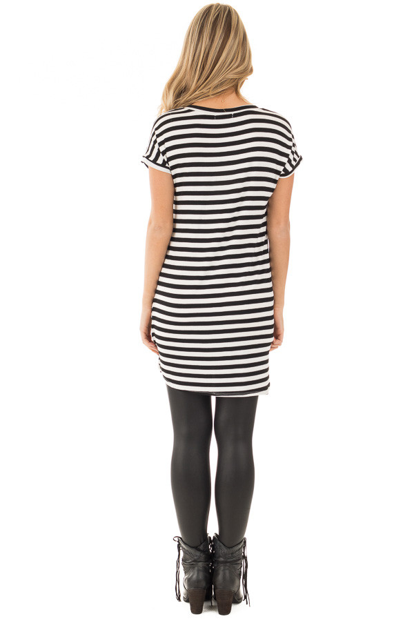 Black and White Striped Jersey Knit V Neck Tunic back full body
