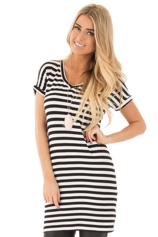 Black and White Striped Jersey Knit V Neck Tunic front close up