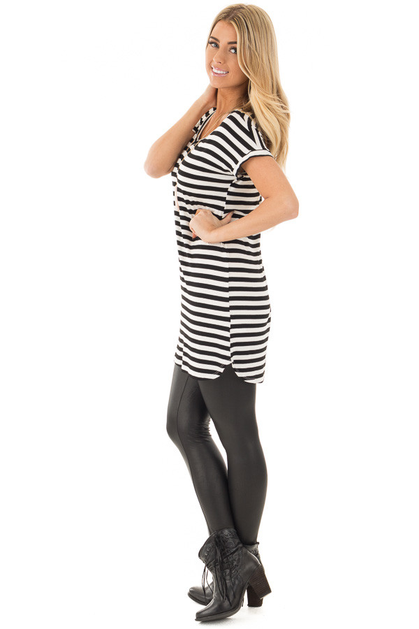 Black and White Striped Jersey Knit V Neck Tunic side full body