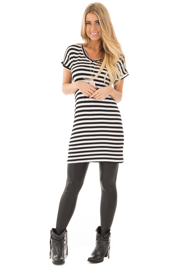 Black and White Striped Jersey Knit V Neck Tunic front full body