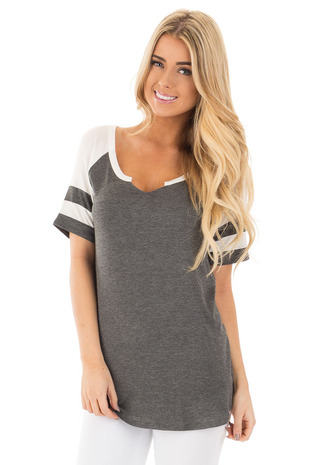 Charcoal Baseball V Neck Tee with Ivory Contrast front close up