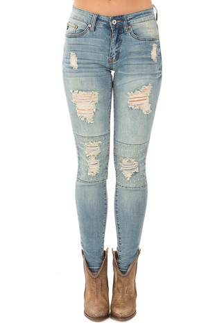 Light Wash Distressed Jeans with Stitched Knee Detail front view